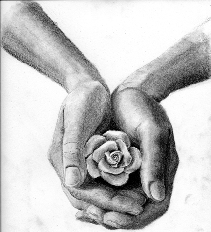 Personal for Hand holding a rose drawing